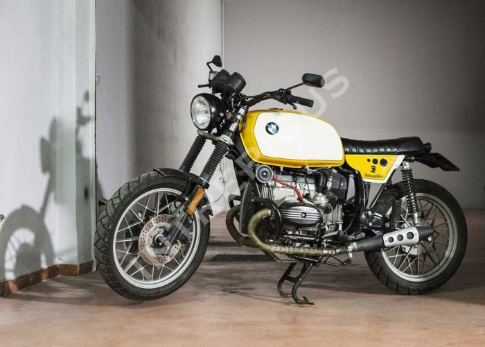 Moto customizzata Solidea BMW R80 RT Intrepidus Scrambler vista laterale sinistra